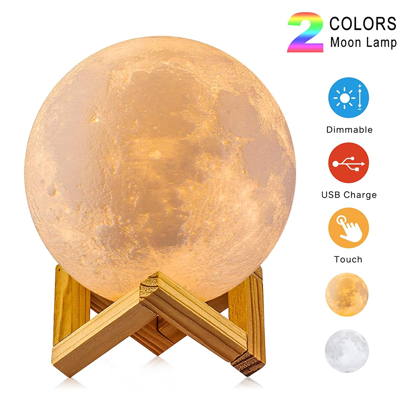 Moon Lamp, 3D Print LED Two Colors, USB Rechargeable Lunar Night Light & Touch Control Dimmable Moon Light Decor with Stand for Baby Kids Lover Birthday Fathers Day Gifts (Diameter 3.9 inch)