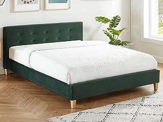 HOMIFAB Lit Adulte avec tête de lit capitonnée en Velours Vert Bouteille - sommier à Lattes 140x190cm - Collection Milo