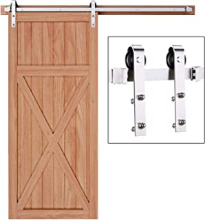 EaseLife 6.6 FT Modern Stainless Steel Sliding Barn Door Hardware Track Kit,Anti-Rust Anti-Corrosion,Slide Smoothly Quietly,Easy Install,Fit 36