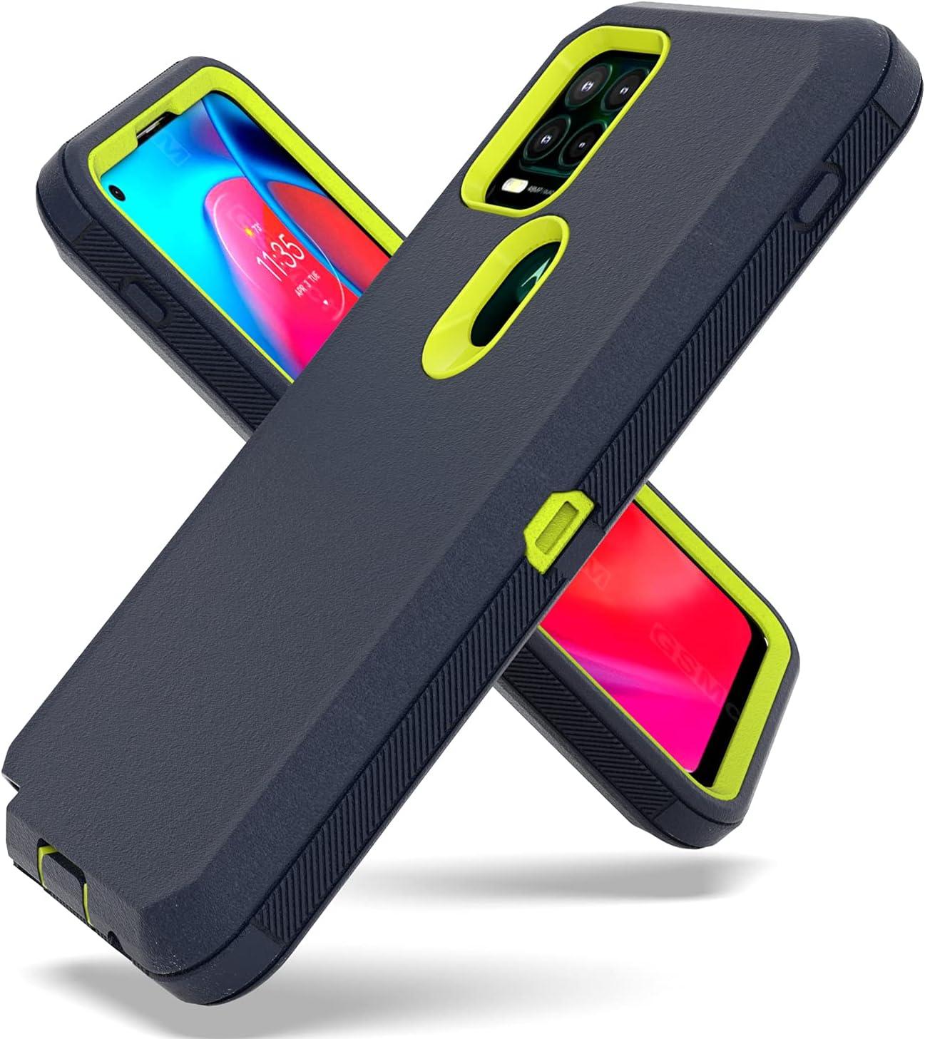 Fcclss Cell Phone Case for Motorola Moto G Stylus 5G 2021, Moto G Stylus 5G 2021 Case Heavy Duty Military Grade Hybrid 3 in 1 Shockproof Drop-Defender Case Cover, Dark Blue & Yellow
