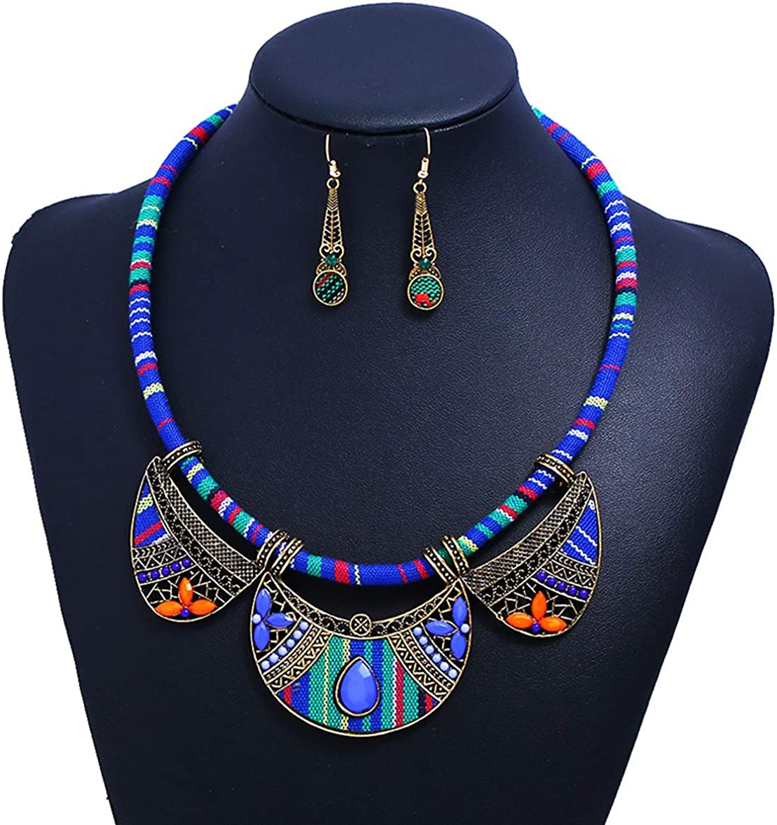 Alina Belle African Ethnic Colorful Collar Necklace Bohemia Necklace Earrings Jewelry Set