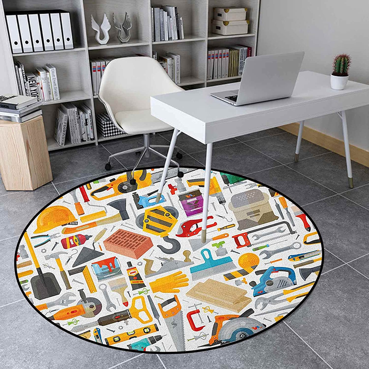 Construction Circle Rug 4.6' Round for Large Free Shipping Cheap Bargain Gift discharge sale Bedroom Kids Rugs