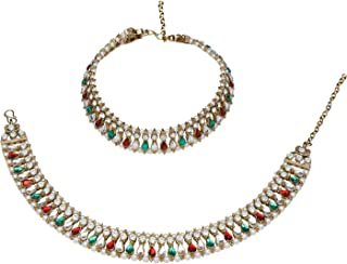 Efulgenz Indian Bollywood Gold Plated Faux Kundan Pearl Wedding Bridal Anklet Pair (2 Piece) Bracelet Payal Foot Jewelry