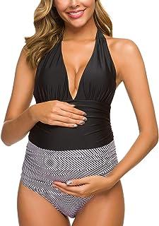 Ziola One Piece Maternity Swimsuits Stripe Halter Swimwear Deep V Neck Monokini High Waisted Bathing Suits