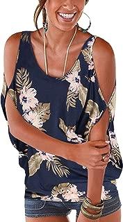 Bluse Damen Kurzarm Schulterfrei Oberteil Damen Off Shoulder Top Sommer Carmen Shirt Blumenmuster