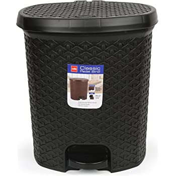 Cello Classic Plastic Pedal Dustbin, 12 Liters, Black