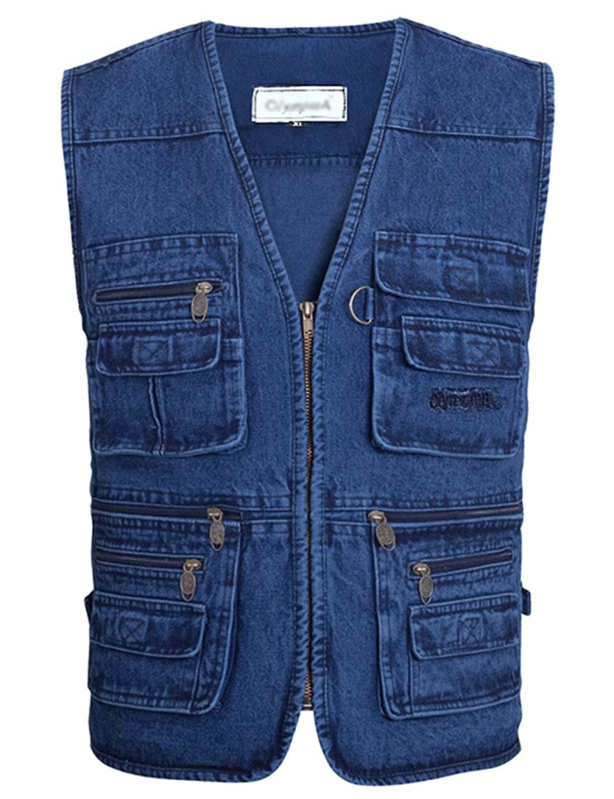 Gihuo Men's Casual Outdoor Work Pockets Fishing Photo Journalist Denim Vest