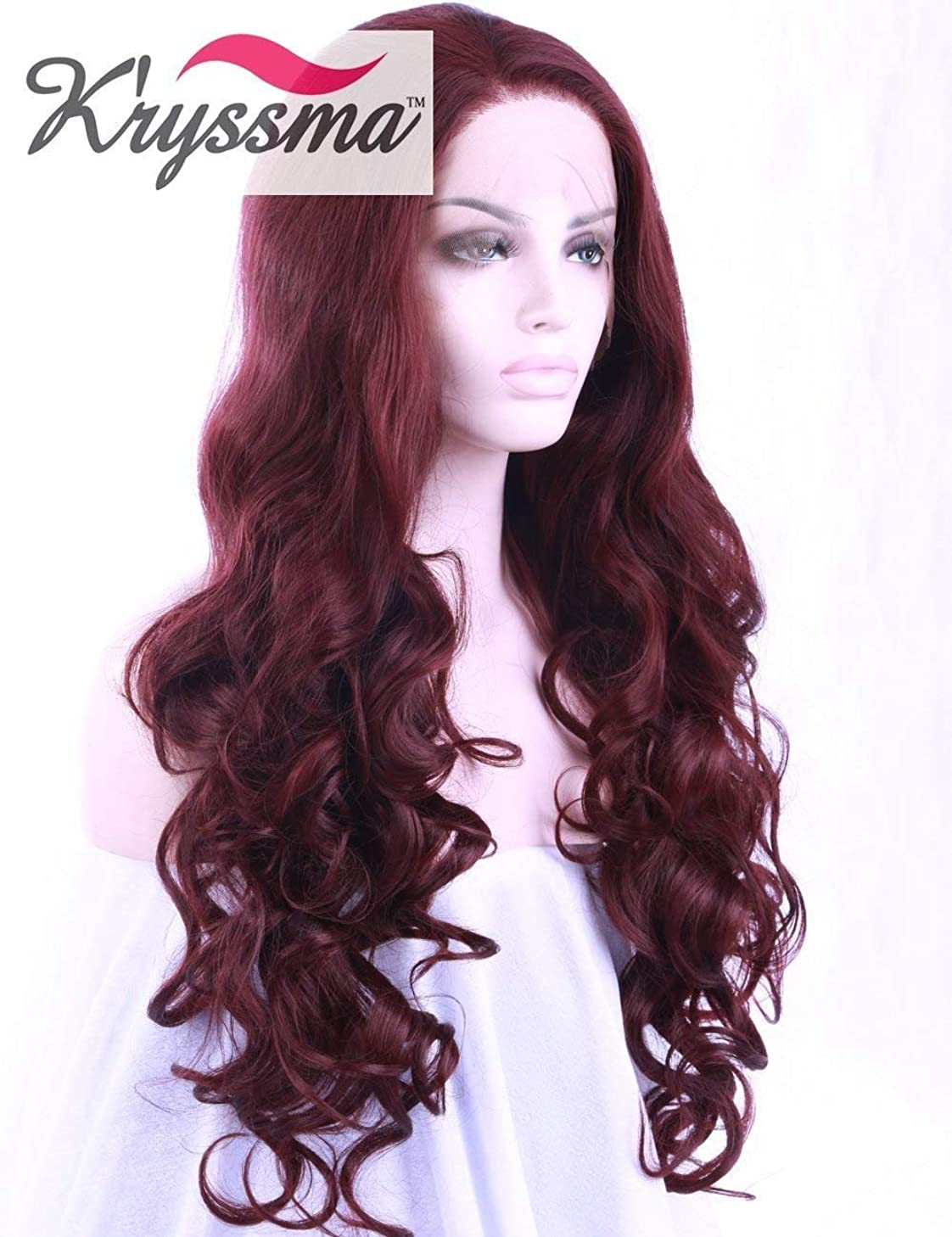 K'ryssma 99J Burgundy Lace Front Wig Long Wavy Deep Wine Red Synthetic Wigs for Women Curly Wave Free Parting Lace Wigs