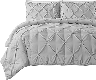 Pinch Pleated Duvet Cover 1 Piece 500 Thread Count 100% Cotton Pintuck Decorative (Queen/Full, Light Grey)