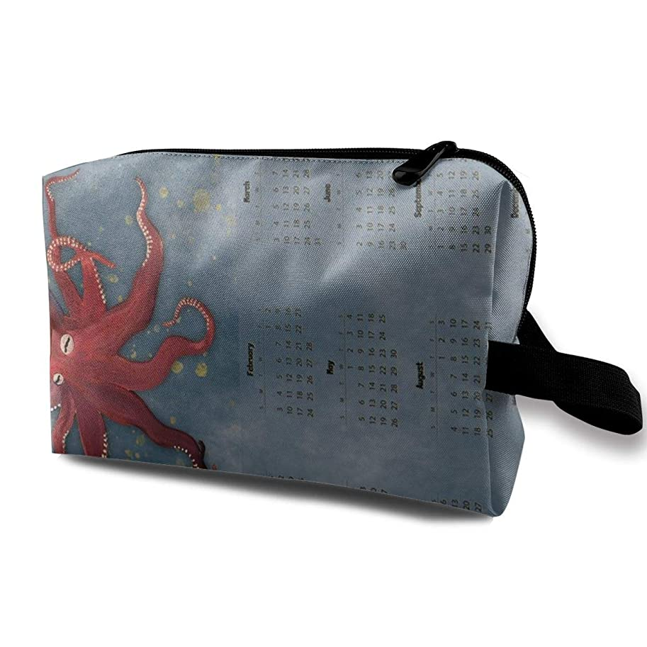 表向き疎外する戸惑う化粧ポーチ コンパクトサイズ,縦の赤いタコのカレンダー - 2019_2918、オックスフォードの布の多彩な袋の小型旅行
