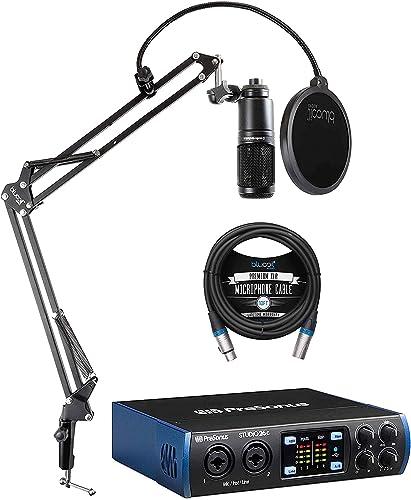 wholesale PreSonus Studio 26c 2x4, 192 kHz, online sale USB Audio Interface for Mac and Windows Bundle with Audio Technica AT2020 Condenser Microphone, Blucoil wholesale Boom Arm Plus Pop Filter, and 10-FT Balanced XLR Cable outlet sale