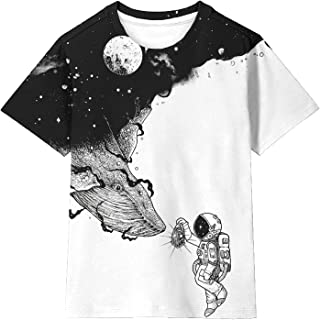 Asylvain Boys Girls Shirts Short Sleeve 3D Print Funny Colorful Tee Shirts for Kids Size 6-16