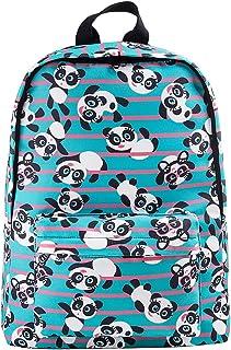 "Cute Kids Backpack for School 16"" Lightweight Canvas Bookbags for Elementary/Teens (Panda)"