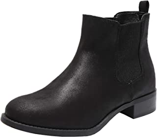 Women's Wide Width Chelsea Ankle Boots, Low Heel Slip on Casual Cozy Winter Booties.