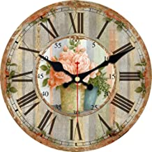 MEISTAR Silent No Ticking Round Quartz Movement Wall Clocks 16 Inch Decorative Vintage/Country/French Style Wooden Clock for Living Room,Kitchen,Office.