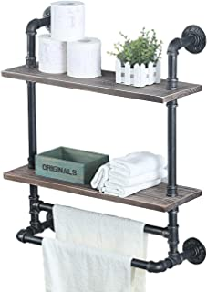 2 Tiered Industrial Pipe Bathroom Shelves Wall Mounted with 2 Towel Bar,24in Rustic Wall Decor Farmhouse Towel Rack,Metal ...