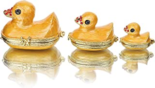 YU FENG Family Duck Trinket Box Easter Day Gifts for Her for Him Birthday Gifts for Women Fine Pewter Boxes Jeweled Small Box with Crystal Decor Jewelry Holder Organizer Trinket Boxes Hinged (Duck)
