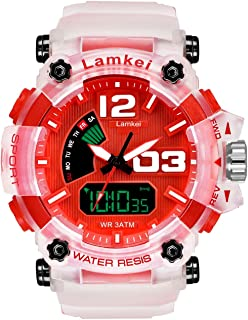 Lamkei LAM-1331 Black Dial White Transparent Silicone Strap Analogue Digital Multifunction Watch for Men (Red)