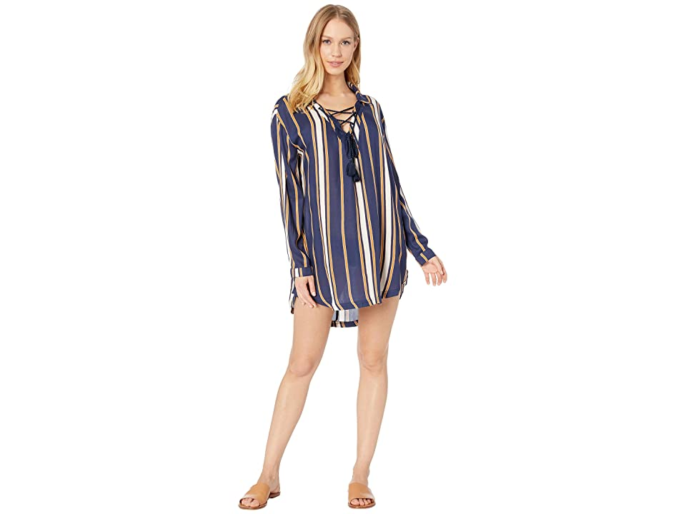 Roxy Lonely For You Cover-Up Dress (Medieval Blue Macy Stripe) Women
