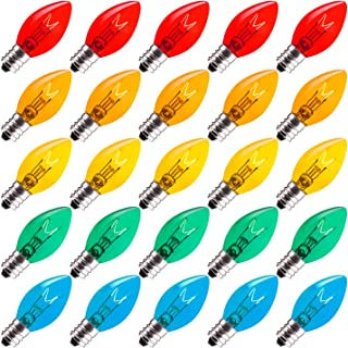 Brightown 25 Pack C7 Christmas Replacement Light Bulbs, C7 Clear Incandescent Bulb for Christmas String Light, E12 Candelabra Base, 5 Watt, Multicolor