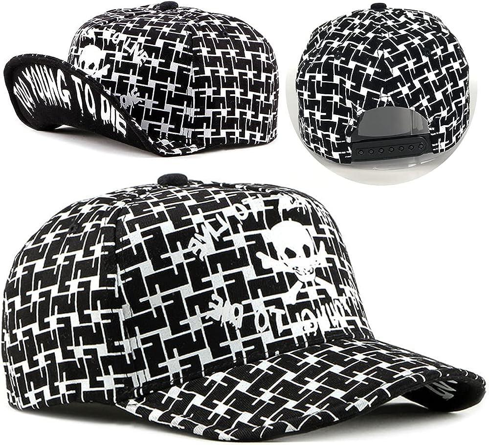 ZffXH Snapback hat Hip hop Skull Baseball Cap Adjustable Flip Up Flat Bill deformable Metal Foldable