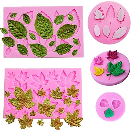 HASTHIP®Reusable Fondant Silicone Mold Leaves Silicone Molds Set Mini Maple Leaf Rose Shaped DIY Handmade Baking Tools for Cake Chocolate Candy Ice Jelly Cake Decoration(5pack)