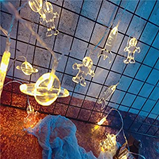 Surethingz 10ft 20 LED Cute Astronaut Spaceship Rocket Pendants Children Bedroom String Lights for Indoor/Outdoor Halloween Christmas Thanksgiving Home Party Window Tree Decoration(Warm White)