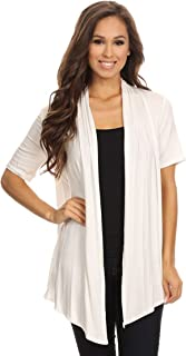 2c3f5946429b Women s Regular Plus Solid Casual Short Sleeve Loose Fit Open Front  Cardigan Made in USA