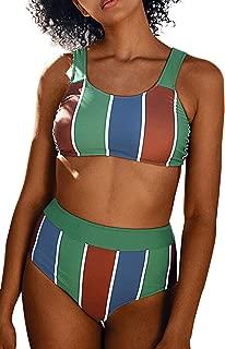 CUPSHE Women's Sporty Stripe Tank Top High Waisted Bikini