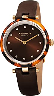 Akribos XXIV Womens Quartz Watch, Analog Display and Leather Strap AK1052BR