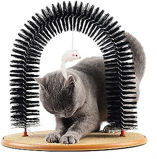 Bidason 猫用 爪とぎ アーチ型 猫ブラシ つりおもちゃ付き 猫つめとぎ おもちゃ 毛づくろいブラシ 運動不足解消 組立簡単