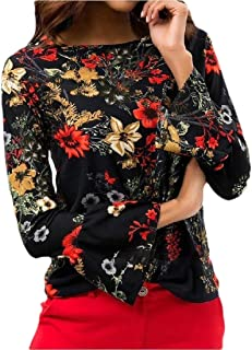 Women Tops Print Shirts Long Sleeve Sweatshirt Casual Neck Pullover