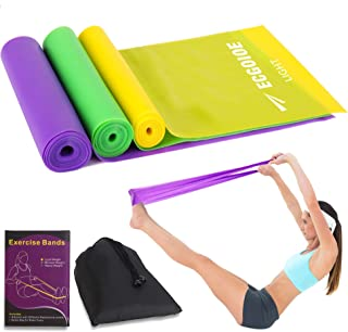 ECGOIOE Flat Exercise Band Set of 3 with Carry Bag, Wide Resistance Ranges Stretch Bands for Home Gym, Physical Therapy, Sport, Pilates, Yoga, Strength Training