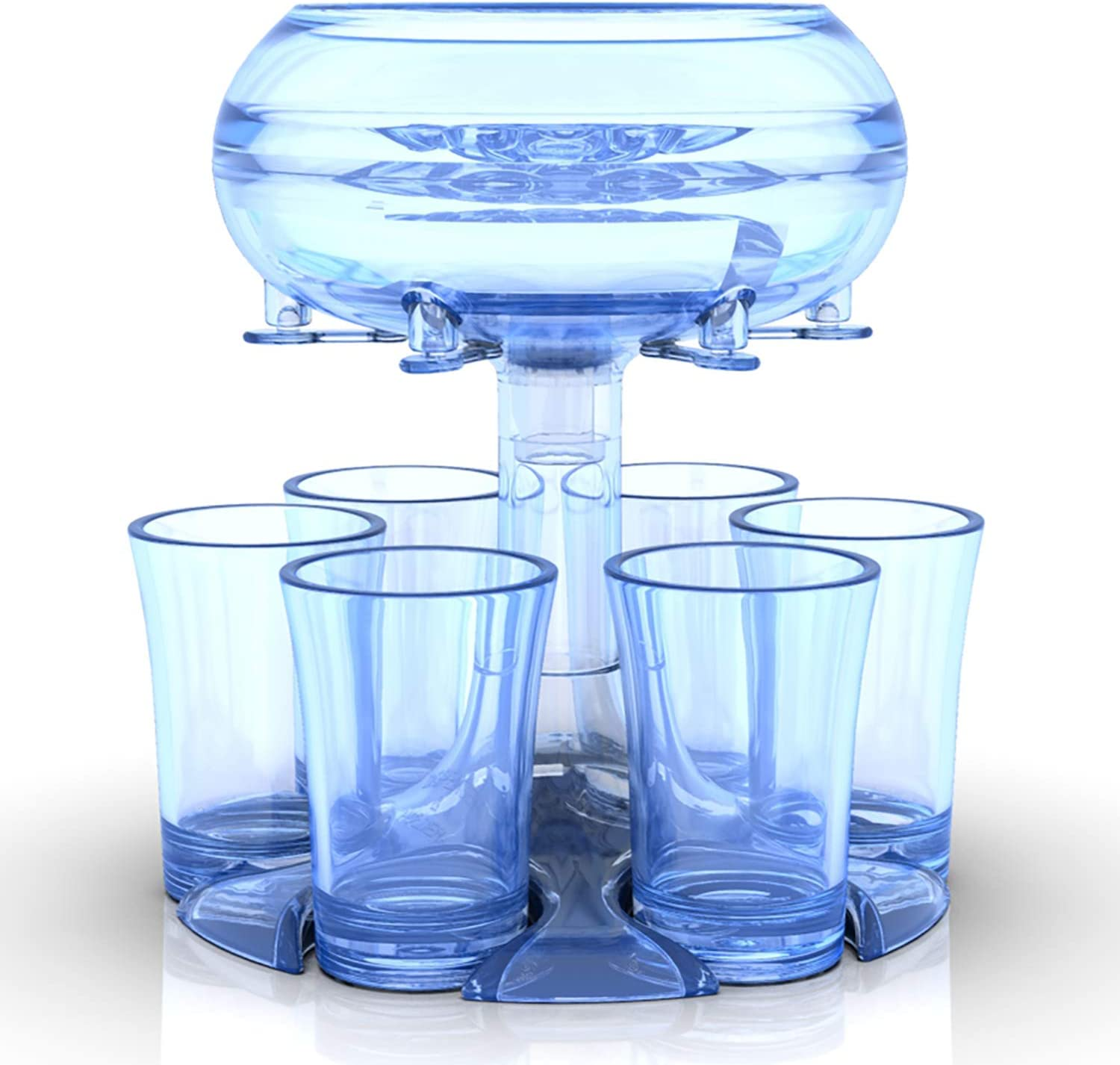 6 Shot Glass Dispenser And Holder,Shots Dispenser for Filling Liquids,Game Dice,Drinking Games Wine Dispenser For Weekend Party Cocktail Parties,Sky Blue