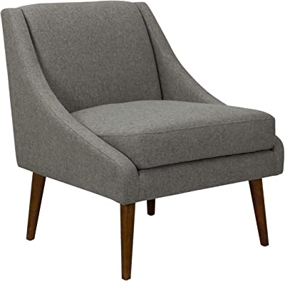 HomeRoots Wood and Fabric Fabric Upholstered Wooden Accent Chair with Tapered Legs, Gray and Brown