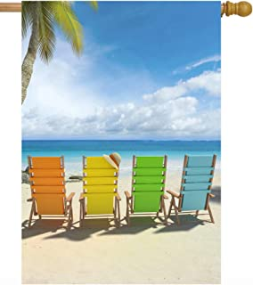 "ShineSnow Summer Beach Tropical Colorful Chairs Palm Tree Sea Ocean Nature House Flag 28"" x 40"" Double Sided Polyester Wel..."