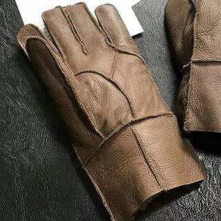 100% Sheepskin Winter Gloves Men's Cashmere Fur Gloves Men's Full Finger Leather Gloves (Color : Brown, Gloves Size : One Size)