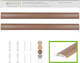 TV Cord Cover Wall Floor Cable Raceway Natural Walnut Cable Concealer Cable Management Wire Hider Kit for 2 Cables Organizer Self Adhesive Channel 50x12 mm Total Length 66 Inches