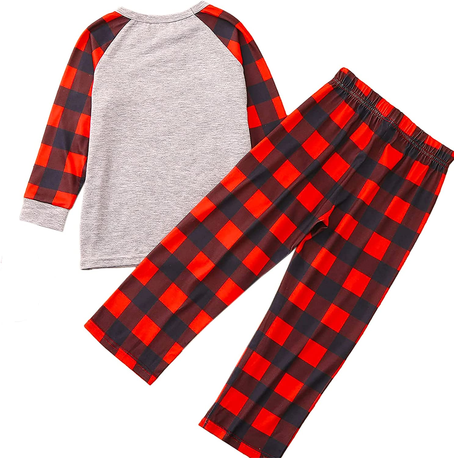 Matching Family Christmas Pajamas Christmas PJ's with Letter Print Top Plaid Pants and Color Block Jumpsuit
