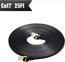 Cat 7 Shielded Ethernet Cable (Highest Speed Cable) Cat7 Flat Ethernet Patch Cables - Internet Cable Modem, Router, LAN, Computer - Compatible Cat 5e,Cat 6 Network Black 25ft Black 25ft