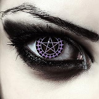 Designlenses, twee zwart gekleurde halloween carnaval kostuum contact lenzen met pentagram patroon, zonder Dioptrieën, gra...