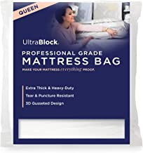 UltraBlock Mattress Bag for Moving, Disposal or Storage - Queen Size Heavy Duty Triple Thick 6 Mil Tear & Puncture Resistant Bag with Two Extra Wide Adhesive Strips