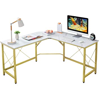 "Mr IRONSTONE L-Shaped Desk 59"" Computer Corner Desk, Home Gaming Desk, Office Writing Workstation, Space-Saving, Easy to Assemble(White Marble)"