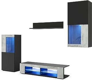 Vladon Conjunto de Muebles de Pared Movie Cuerpo en Negro Mate/Frentes en Negro Mate y óxido de hormigón con iluminación ...