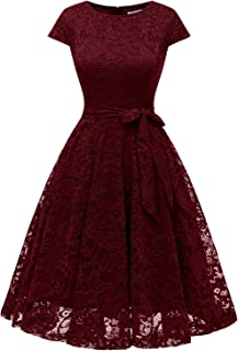 MUADRESS Women Short Lace Bridesmaid Dresses with Cap-Sleeve Formal Party Dresses