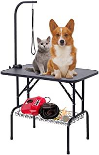 SUNCOO 32 Inch Adjustable Pet Dog Cat Grooming Table Professional Foldable Height Drying Trimming Table w/Arm & Noose & Mesh Tray