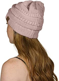 C.C Thick Slouchy Knit Unisex Beanie Cap Hat,One Size,Rose