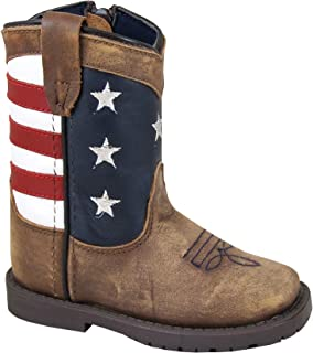 Smoky Toddler's Stars and Stripes Patriotic Western Cowboy Boots - Vintage Brown