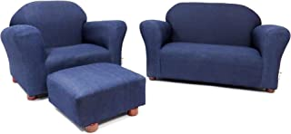 Keet Roundy Denim Children's Chair, Sofa and Ottoman Set, Denim Blue, 33 pounds