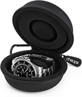 Travel Watch Case | Single Watch Storage Box for Wristwatches & Smart Watches Up to 50mm, Black by Cheopz